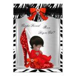 Gender Reveal Baby Shower Zebra Red Baby Shoe 13 Cm X 18 Cm Invitation Card