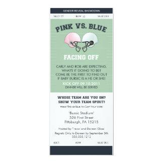 Gender Reveal Football Ticket Baby Shower Invitati 10 Cm X 24 Cm Invitation Card