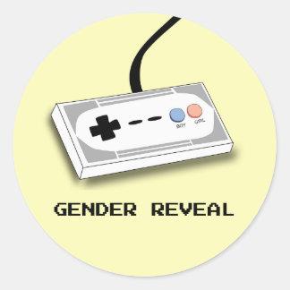 Gender Reveal Gamer Controller Boy Girl Classic Round Sticker