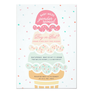 GENDER REVEAL - here's the scoop ice cream party 13 Cm X 18 Cm Invitation Card