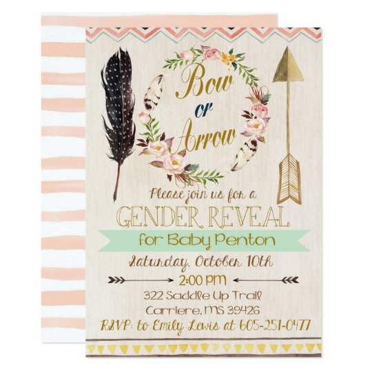 Gender Reveal Invitation, Bows or Arrows, Tribal Card