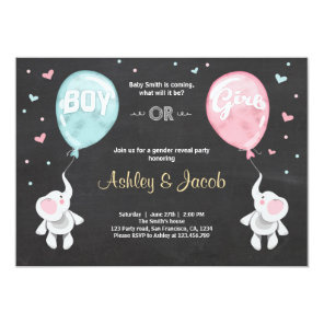 Gender reveal invitation Elephants Boy or Girl