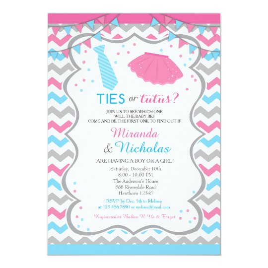 Gender Reveal Invitation / Ties Or Tutus Invite