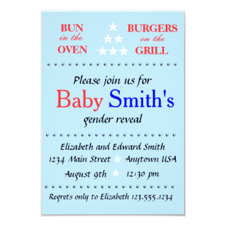 Gender Reveal Party 9 Cm X 13 Cm Invitation Card