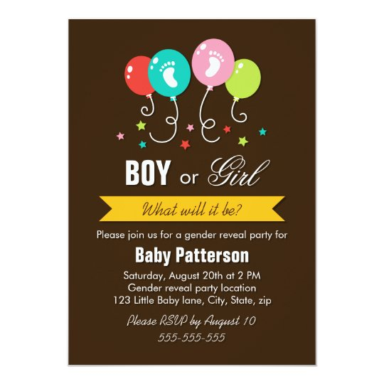 Gender reveal party balloons stars baby footprints card