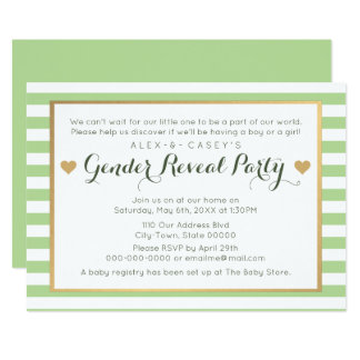 Gender Reveal Party Invitation - Classic Stripes