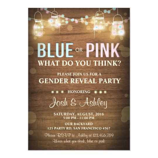 Gender reveal party invitation Rustic Wood Shower