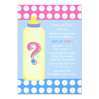 """Gender Reveal Party Invitations -- Baby Bottle 5"""" X 7"""" Invitation Card"""
