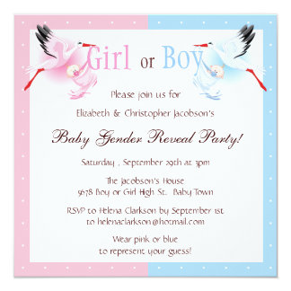 Gender Reveal Party Stork Delivering Baby Card