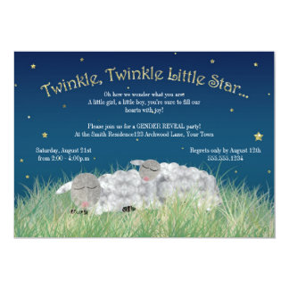 Gender Reveal Party Twinkle Little Star Cute Sheep 13 Cm X 18 Cm Invitation Card