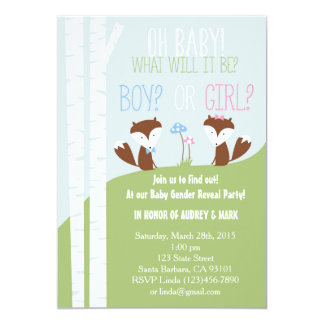 Gender Reveal Party with Little Foxes 13 Cm X 18 Cm Invitation Card