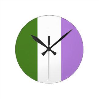 GENDERQUEER FLAG ORIGINAL -.png Round Wall Clock