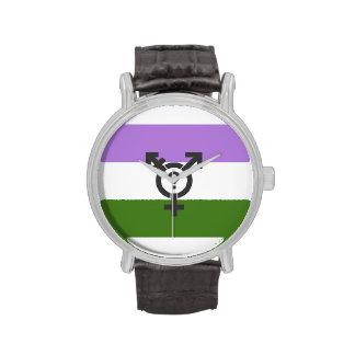 GENDERQUEER FLAG ORIGINAL WITH SYMBOL - png Wristwatch