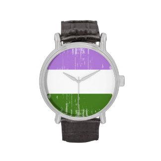 GENDERQUEER PRIDE DISTRESSED DESIGN - png Wristwatch