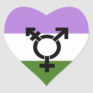 Genderqueer Pride Flag Heart Sticker