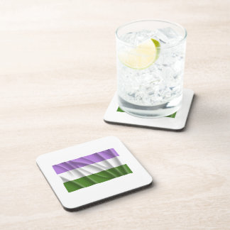 GENDERQUEER PRIDE FLAG -Wavy Beverage Coaster