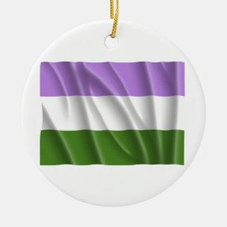 GENDERQUEER PRIDE FLAG -Wavy Christmas Ornament