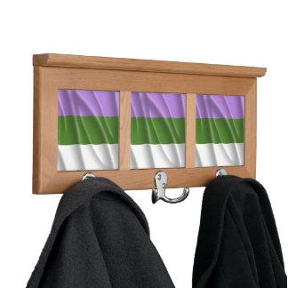 GENDERQUEER PRIDE FLAG WAVY DESIGN - 2014 PRIDE pn Coat Rack