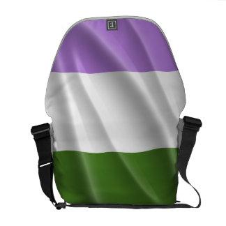 GENDERQUEER PRIDE FLAG WAVY DESIGN MESSENGER BAGS