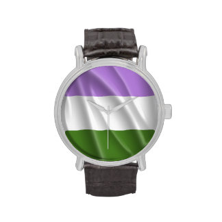GENDERQUEER PRIDE FLAG WAVY DESIGN -.png Wrist Watches