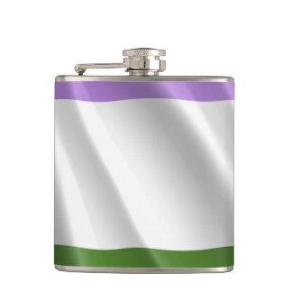 GENDERQUEER PRIDE FLAG WAVY DESIGN -.png Hip Flask