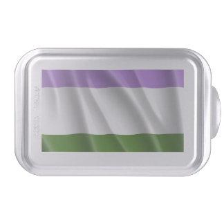 GENDERQUEER PRIDE FLAG WAVY DESIGN -.png Cake Pan