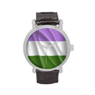 GENDERQUEER PRIDE FLAG WAVY DESIGN - png Wrist Watches