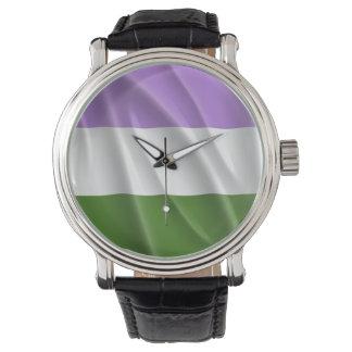 GENDERQUEER PRIDE FLAG WAVY DESIGN -.png Wristwatch