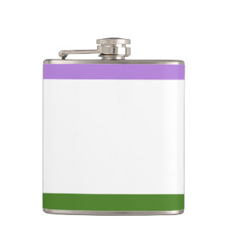 GENDERQUEER PRIDE STRIPES DESIGN -.png Flask
