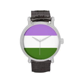 GENDERQUEER PRIDE STRIPES DESIGN - png Wristwatch