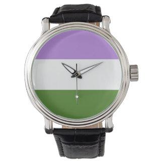 GENDERQUEER PRIDE STRIPES DESIGN -.png Wrist Watches