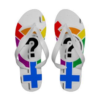 GENDERQUEER SYMBOL RAINBOW 3D -.png Sandals