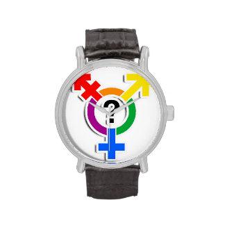 GENDERQUEER SYMBOL RAINBOW 3D -.png Wristwatch