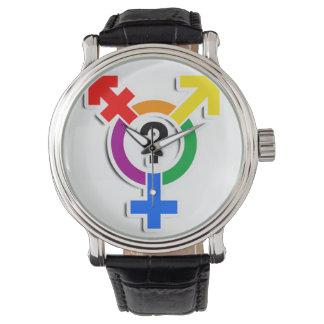 GENDERQUEER SYMBOL RAINBOW 3D -.png Wristwatches