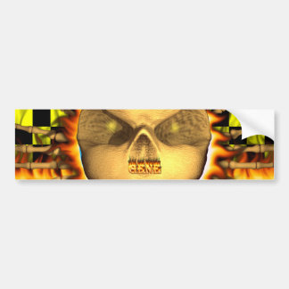 Gene skull real fire and flames bumper sticker des