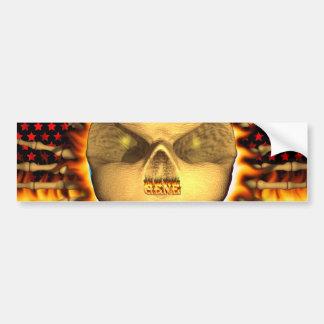 Gene skull real fire and flames bumper sticker des