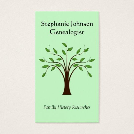Genealogist Genealogy Tree Custom Business Card 1