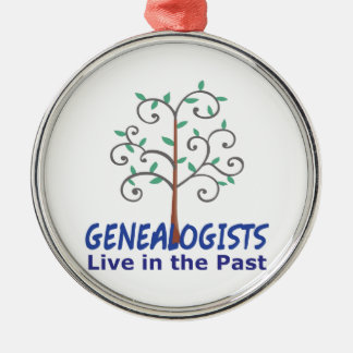 GENEALOGISTS LIVE IN THE PAST Silver-Colored ROUND DECORATION