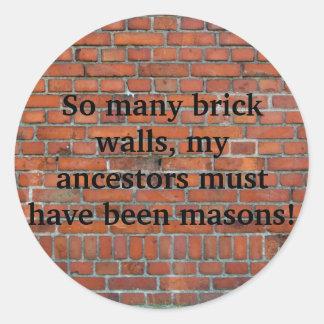 "Genealogy ""Brick Wall"" Sticker"
