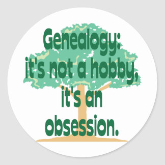 Genealogy Obsession Classic Round Sticker