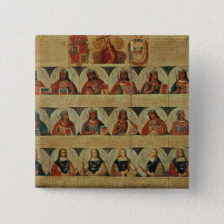 Genealogy of the Inca rulers and their Spanish 15 Cm Square Badge