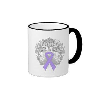 General Cancer Fight Like A Girl Fleurish Ringer Mug
