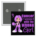General Cancer Messed With Wrong Girl 15 Cm Square Badge
