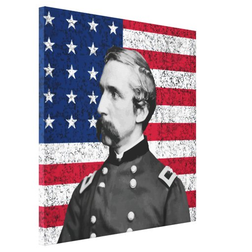 General Chamberlain and The American Flag Stretched Canvas Print
