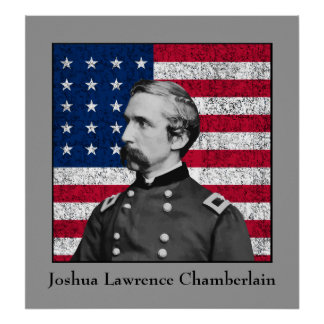 General Chamberlain and The American Flag Print