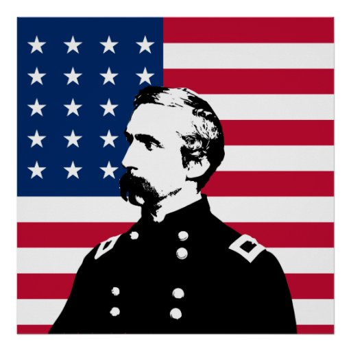 General Chamberlain and The US Flag Print