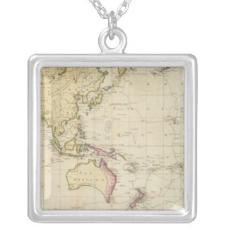 General chart historical map silver plated necklace