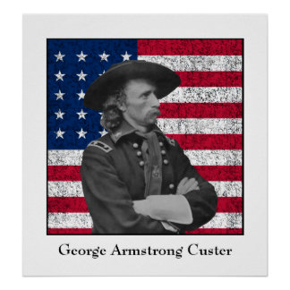 General Custer and The American Flag Poster