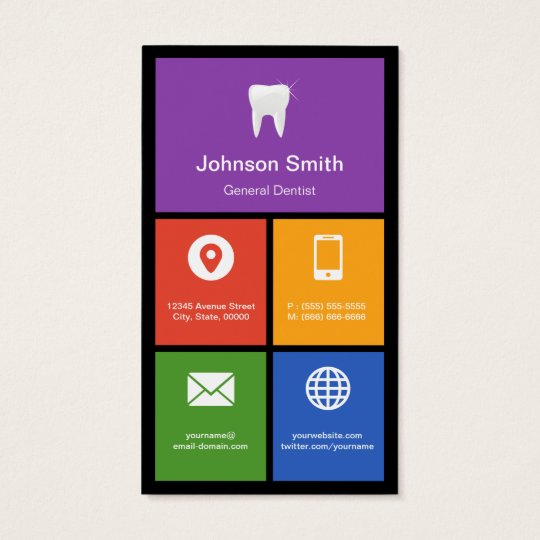 General Dentist - Colourful Tiles Creative Business Card