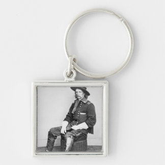 General George A. Custer (b/w photo) Silver-Colored Square Key Ring